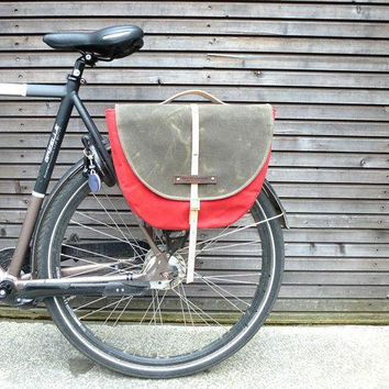 Waxed Canvas Pannier / Bicycle Bag  With Flap Bike Accessories