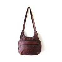 Vintage oxblood red leather purse. leather shoulder purse. slouchy bag. hobo cross body bag.
