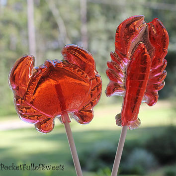 12 Nautical Lollipops CRAB & LOBSTER Combo Hard Candy Barley Sugar Lollipops Beach wedding, Birthday Party Favors
