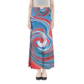 Red And Blue Rounds Full Length Maxi Skirt