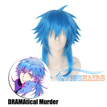 "18"" Long Synthetic Wigs Cosplay dramatical murder Blue"