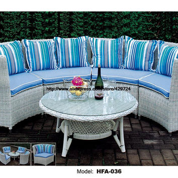 Modern Half Round Sectional Rattan Sofa Set Coffee Table Outdoor White Furntiure  Include Cushions Garden Health Rattan Sofa