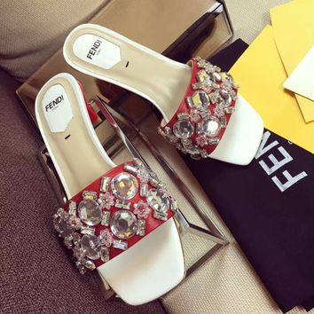 shosouvenir Fendi Ladies' new slippers, diamond, medium low heel square fashion sandals