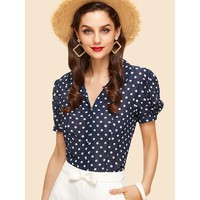 Puff Sleeve Fitted Polka Dot Blouse