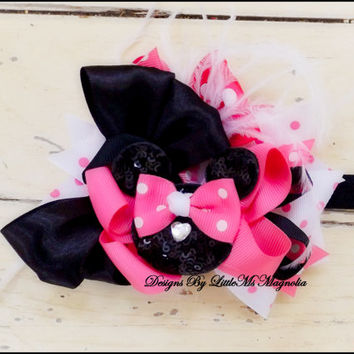 """Hair Accessories,  Baby Girl Headband,  Minnie Mouse, """" The Happiest Bow On Earth"""", Headband or Hair clip For Infants and Girls"""