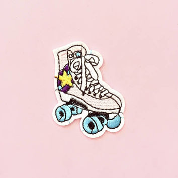 Retro Roller Skate Iron On Patch, custom patch, kawaii patch, back patch, embroidery patch, pastel goth, grunge patch, rave clothing, retro