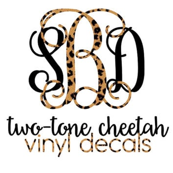 Two-Tone Cheetah Print Monogram Decal