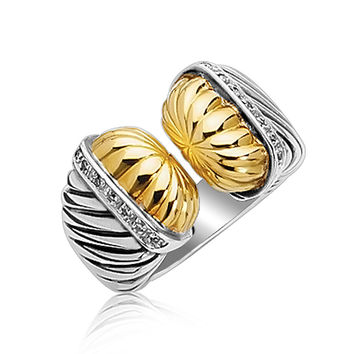 18K Yellow Gold and Sterling Silver Open Style Cable Ring with Diamonds