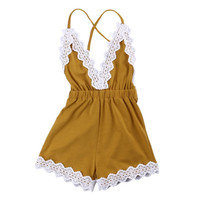 Newborn Baby Girl Romper Summer 2017 Kids Fashion Clothes Baby Girls Lace Sleeveless Romper Cotton Vintage Baby Playsuit Cute