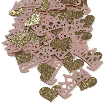 Princess crown confetti, tiaras, pink and gold party, Ready in 3-5 business days, 100 pieces, glitter hearts, pageant
