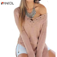 Vancol 2016 New Women's Sweater Long Sleeve V Neck Bandage Pullovers for Women Fall Winter Oversize Pullovers Sweater Female
