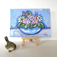 Shabby Floral Painting, French Cottage Chic, 5 x7, Home Decor, Original, pastels, gift idea