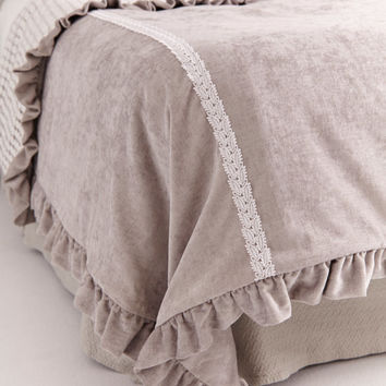 VELVET AND LACE Duvet Cover . Soft Grey Velvet Chenille with Overlay of Pearlescent Floral Lace reverses to Elegant Grey Velvet . Lace Trim