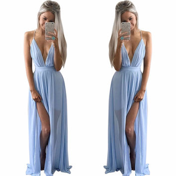 Maxi Dress Women Floor-length Sleeveless Sexy Deep V neck Long Dress High Waist Empire Party Dresses SM6
