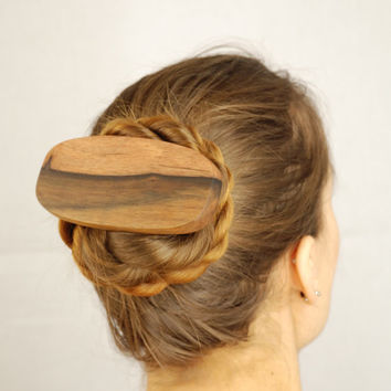 Wooden hair accessory barrette clip haar celtic pagan raw natural nature unusual outstanding country elegant medieval headdress sustainable