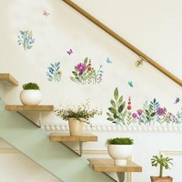 Flowers Painting wall stickers home decor Decorative Painting Bedroom Living room TV Wall Stickers Mural