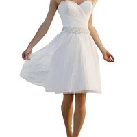Lttdress Women's Sweetheart Short Beach Dresses Wedding Dresses White Ivory