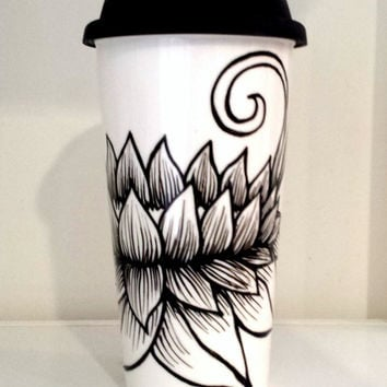 Ceramic Travel Mug 16oz Painted Black and White Lotus Flower To-go Cup Nature Modern Porcelain Tumbler - MADE TO ORDER