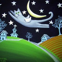 Starry Night Kitty Grey Cat Angel Crescent Moon Whimsical Art Magnet | StarluStudio - Housewares on ArtFire