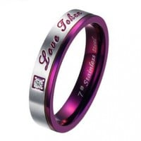"JewelryWe Womens ""Love Token"" Stainless Steel Ring Valentine Promise Engagement Wedding Band Silver Purple (Size 8)"