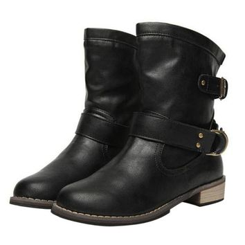 Women Short Winter Boots Vintage British PU Leather Ankle Black Boot