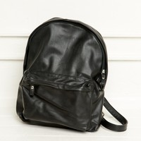 Black Leather Backpack - Brandy Melville