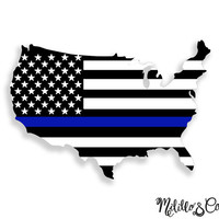 Thin Blue Line Police USA - United States of America - American Flag Car Decal Sticker