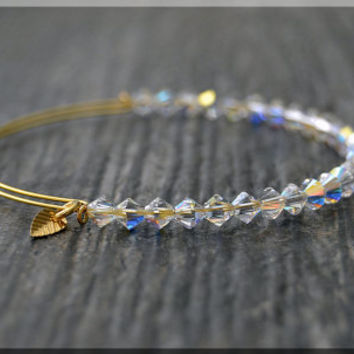 Clear AB Beaded Bangle bracelet, Adjustable Bracelet, Expandable Beaded bangle, Swarovski Crystal, Stacking Bangle, Layering Bracelet