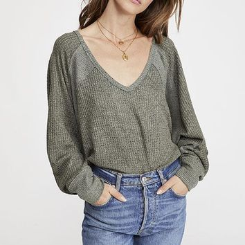Free People - Grey Santa Clara Thermal V Neck Top
