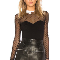 fleur du mal Collared Bodysuit With Dotted Tulle in Black | REVOLVE