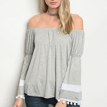 Women Off Shoulder Bell Sleeve Gray Boho Top Blouse Pom Poms Relaxed Tunic Cute