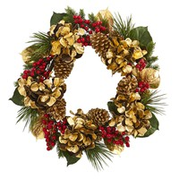 Christmas Wreath -24 Inch Golden Hydrangea with Berries and Pine Wreath