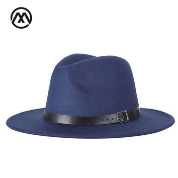 New and winter men's fedora hats unisex solid belt fashion caps large size warm and comfortable adjustable wool cowboy