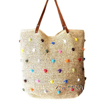 Straw beach bag large raffia beach tote dotted beach bag natural straw beach bag genuine leather straps extra large summer  wooven beach bag