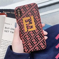 FENDI Newest Popular Silicone Mobile Phone Cover Case For iphone 6 6s 6plus 6s-plus 7 7plus 8 8plus X XsMax XR Pink