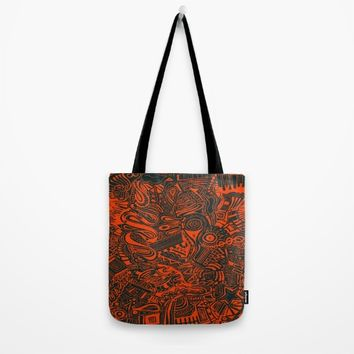 Inky - Orange & Green Tote Bag by DuckyB