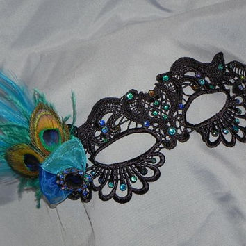 Soft Lace Black Masquerade Mask with Peacock Feathers, Teal and Blue Stones and Accents
