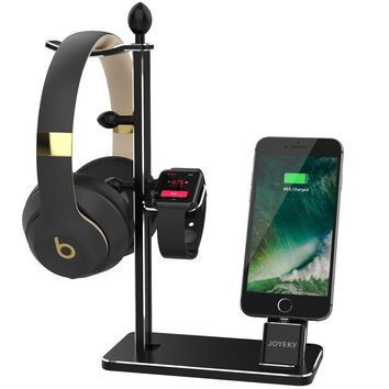Apple Watch Stand, JOYEKY Aluminum Apple Watch Charger Dock Headphone Stand Headset Holder, iPhone Docking Station Charging Dock for Apple Watch Series 3 2/1/ iPhone X / 8/ 8 Plus/ 7/ 6S Plus/ iPad