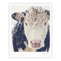 "Debbra Obertanec ""Snowy Cow"" Black White Fine Art Gallery Print"