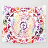 Radiant Om Mandala Wall Tapestry by Inspired Images