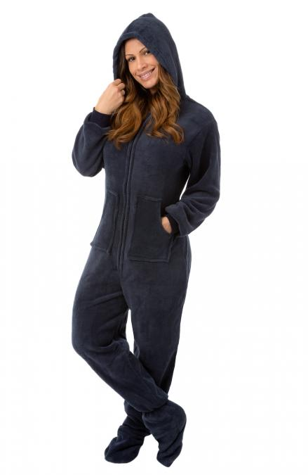 Plush Adult Footed Pajamas with Hood in from bigfeetpjs.com