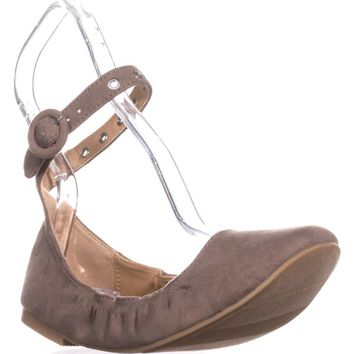 MG35 Francy Ankle Strap Ballet Flats, Taupe, 6.5 US