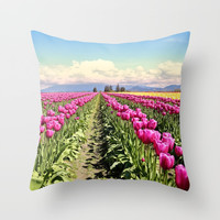Tulip field Throw Pillow by Sylvia Cook Photography