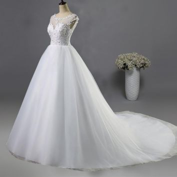 White Ivory Lace Bride Open Back Wedding Dresses with short sleeve Bridal Gown with Chapel Train