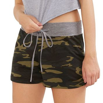 Lady Summer Camouflage Women's Workout Yoga Hot Shorts Drawstring Casual Shorts