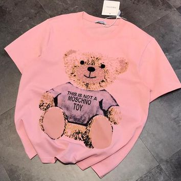 MOCHINO Newest Hot Sale Women Cute Diamond Bear Print T-Shirt Tunic Blouse Top