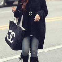 Casual Black Plain Hooded Dolman Long Sleeve Irregular Thick Sweater