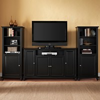 "Cambridge Ent. Center 60"" TV Stand & Two 60"" Audio Piers Black"