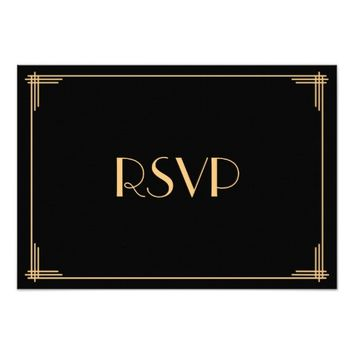 "Black Gold Great Gatsby Art Deco Wedding RSVP Card 3.5"" X 5"" Invitation Card"