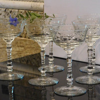 Vintage Crystal Leaf Etched And Cut Champagne / Wine Glasses Set of (6), Gift Boxed, A Very Lovely Way To Serve Your Guests!